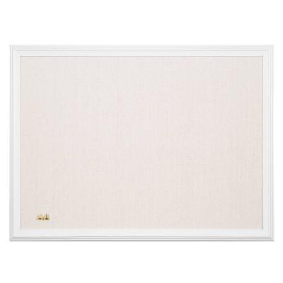"U Brands 24""x18"" Linen Bulletin Board White Decor Frame"