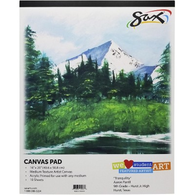 Sax Genuine Primed Canvas Pad, 16 x 20 Inches, White, 10 Sheets/Pad