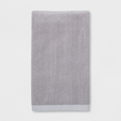 Textured Herringbone Gray Bath Towel Gray - Threshold™