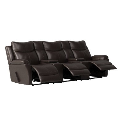 Aaron 3 Seat Wall Hugger Recliner Sofa with 2 Storage Consoles and USB Port Renu Leather Coffee Brown - ProLounger