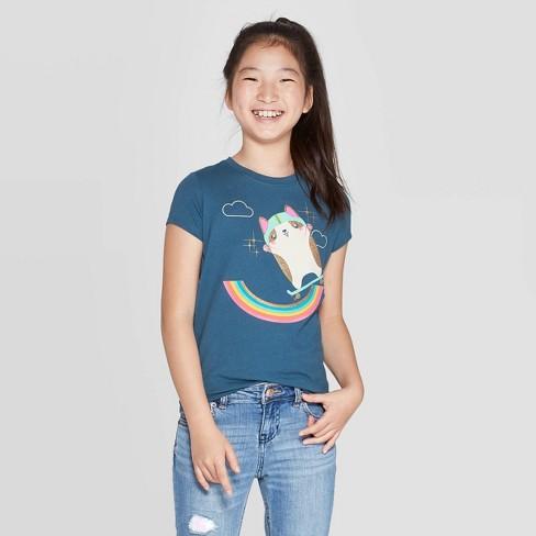 Girls' Short Sleeve Skateboarding Corgi Graphic T-Shirt - Cat & Jack™ Dark Teal - image 1 of 3