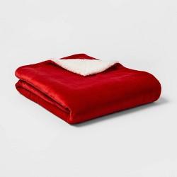 Solid Plush Reversed to Sherpa Throw Blanket - Threshold™