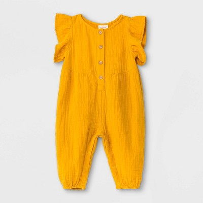 Baby Girls' Gauze Flutter Sleeve Romper - Cat & Jack™ Yellow Newborn