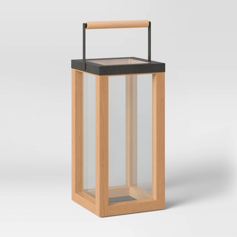 Iron and Wood Pillar Outdoor Lantern Candle Holder Brown - Threshold™ - image 1 of 3