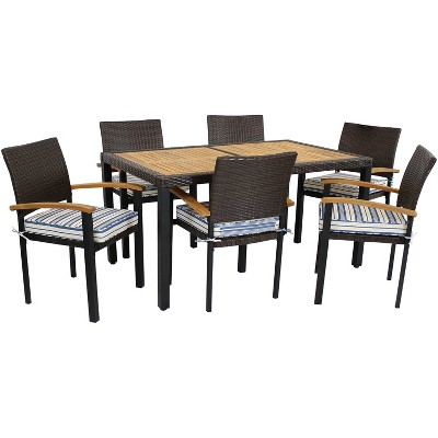 Sunnydaze Outdoor Rattan and Acacia Wood Carlow Patio Dining Set with Table, Chairs, and Seat Cushions - Blue Stripe - 7pc
