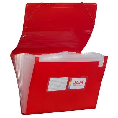"JAM Paper 10"" x 15"" 13 Pocket Plastic Expanding File Folder - Legal Size - Red"