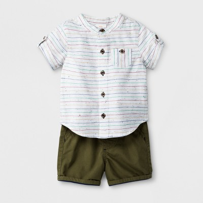 Baby Boys' 2pc Button-Down Short Sleeve Shirt and Shorts Set - Cat & Jack™ White/Green 6-9M