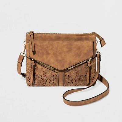 VR By Violet Ray Leanna Double Zip Laser Cut Crossbody Bag – Cognac ... c3f30cf4a68bf