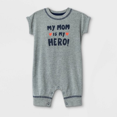 Baby 'Mom is my Hero' Short Sleeve Romper - Cat & Jack™ Gray 3-6M