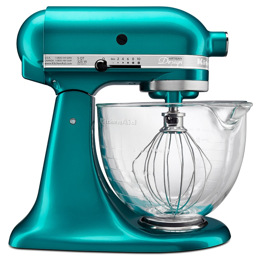 KitchenAid Artisan Design Series 5 Quart Tilt-Head Stand Mixer with Glass Bowl – KSM155GB, Blue 16598484