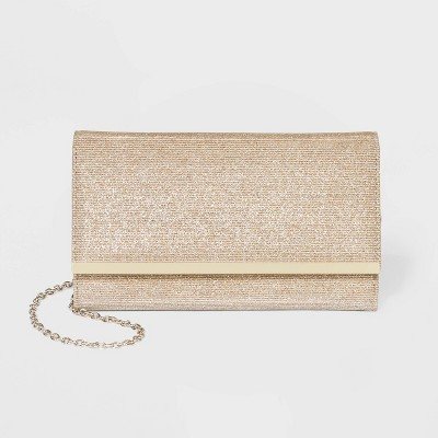 Estee & Lilly Snap Flap Closure Clutch - Light Gold