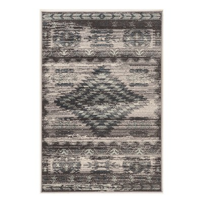 Gray Tribal Design Loomed Area Rug 8'X10' - Linon