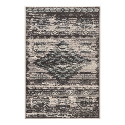 Gray Tribal Loomed Area Rug 2'X10' - Linon - image 1 of 1