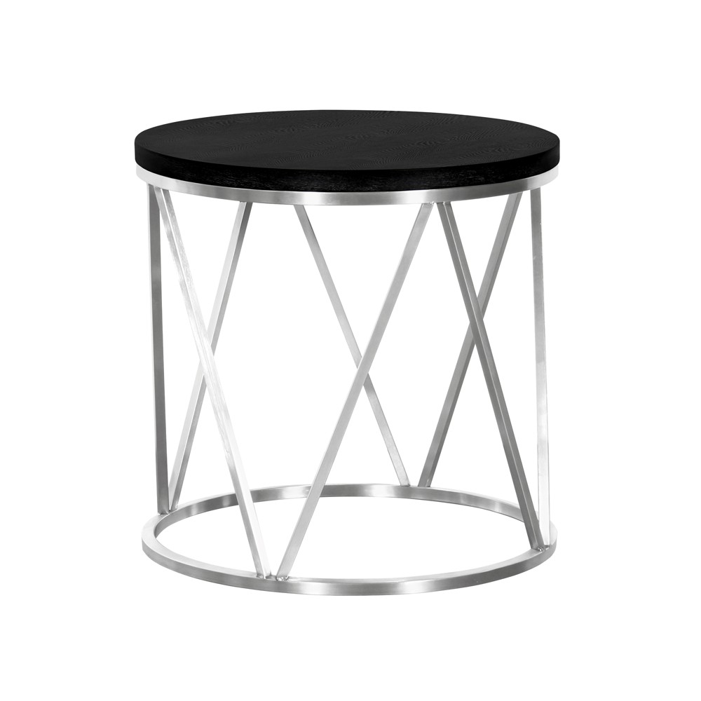 Armen Living Emerald Contemporary Round End Table Black