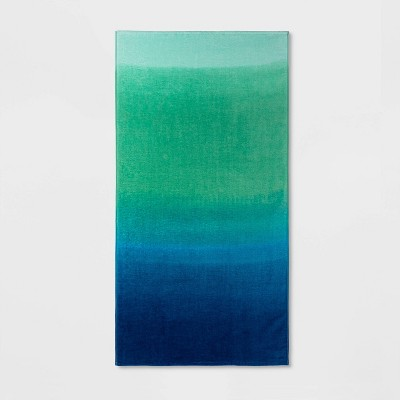 Printed Ombre Beach Towel Blue/Green - Sun Squad™