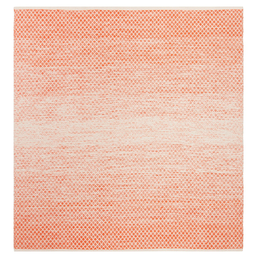Orange/Ivory Geometric Flatweave Woven Square Area Rug 6'X6' - Safavieh