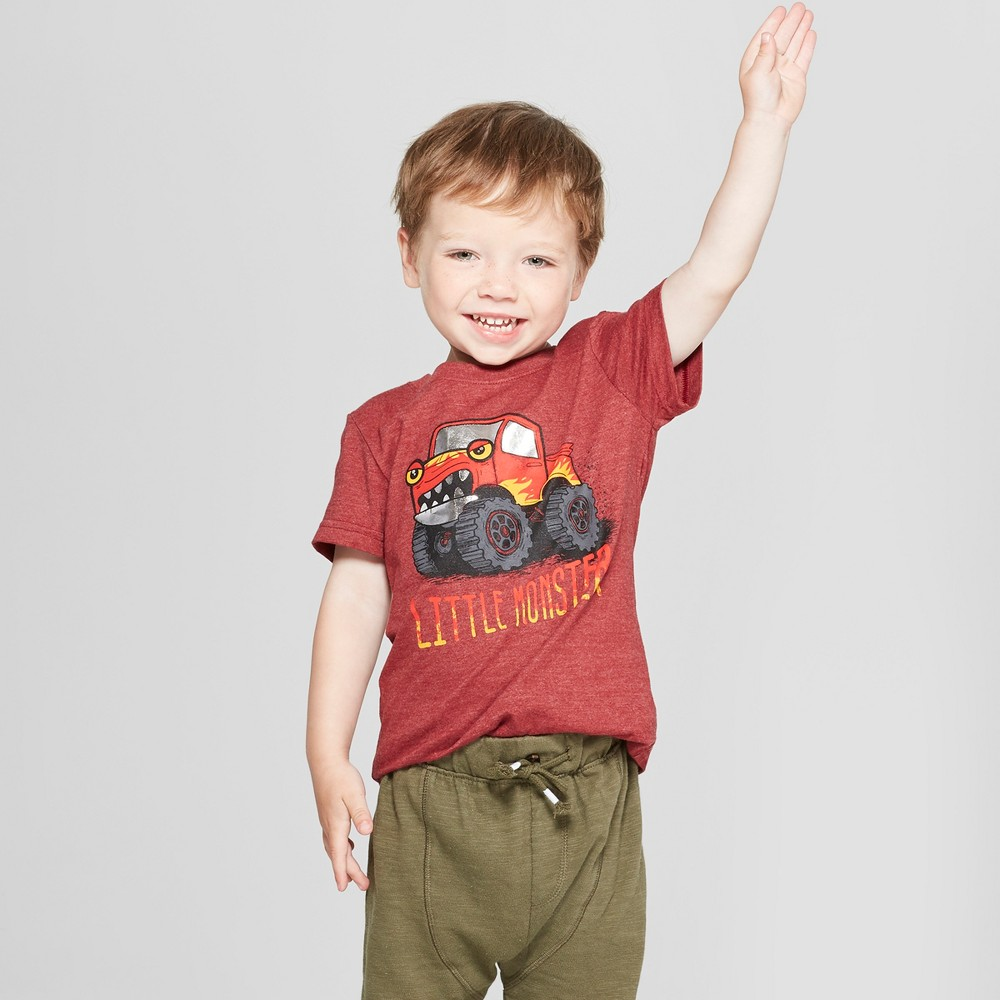 Toddler Boys' Little Monster Graphic Short Sleeve T-Shirt - Cat & Jack Red 12M