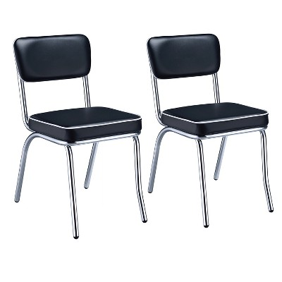 Coaster Home Furnishings Retro Dining Room Chairs w/ Mid Century Design, and Open Back and Leatherette Upholstered Cushion, Black and Chrome, Set of 2