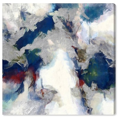 """12"""" x 12"""" E"""" x plosive Shade Abstract Unframed Canvas Wall Art in Blue - Unbranded"""