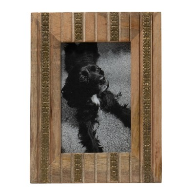 Antique Brass 4 x 6 Inch Wood and Metal Striped Decorative Picture Frame - Foreside Home & Garden