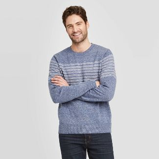 Men's Striped Standard Fit Light Weight Crew Neck Sweater - Goodfellow & Co™ Blue M