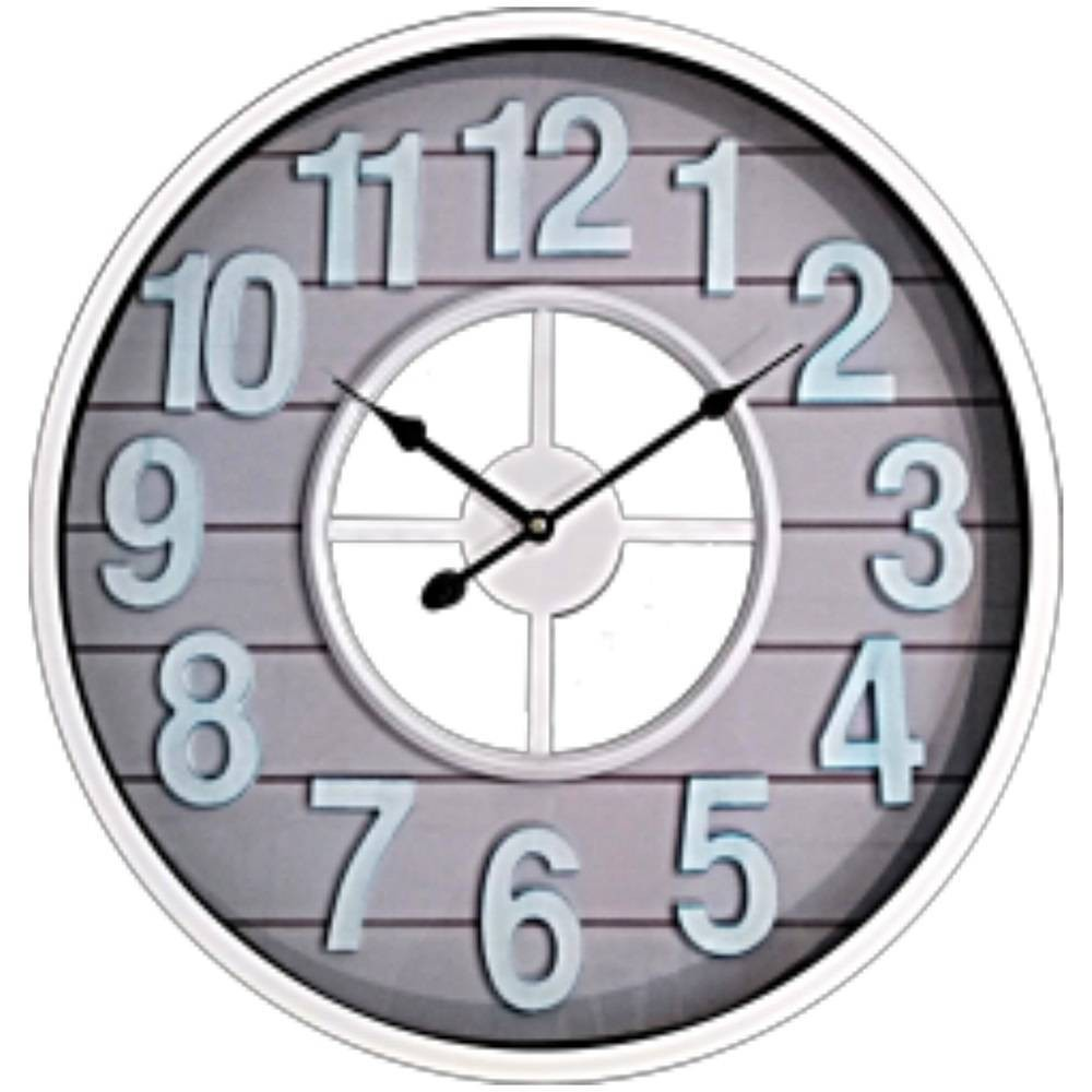 "Image of ""16"""" """"Shiplap"""" Roman Numerals Metal Case Finish Wall Clock White - MZB, Gray White"""