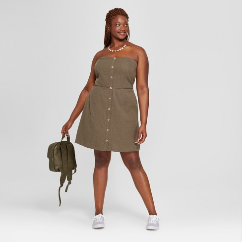 Women\'s Plus Size Tube Button Front Dress - Universal Thread™ Olive 1X