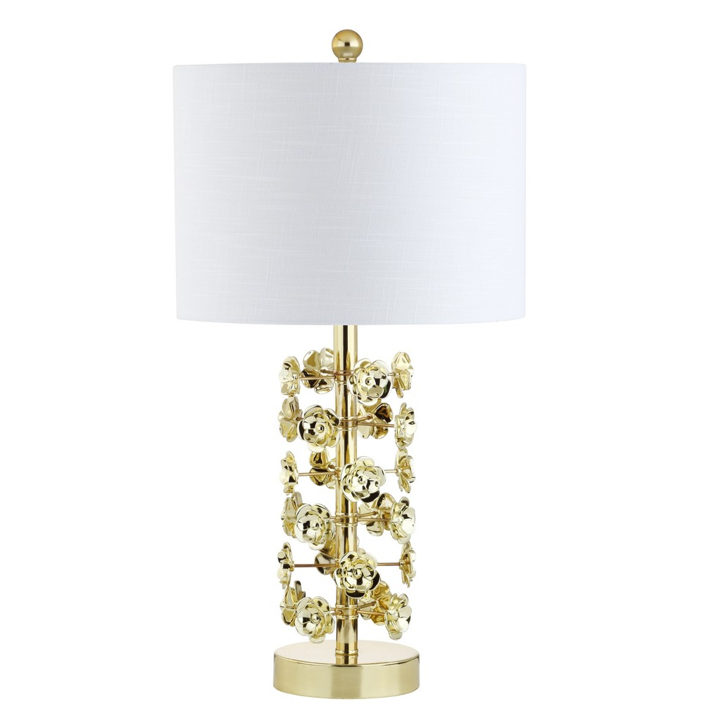 25.5 Flora Resin/Metal Led Table Lamp Gold (Includes Energy Efficient Light Bulb) - Jonathan Y