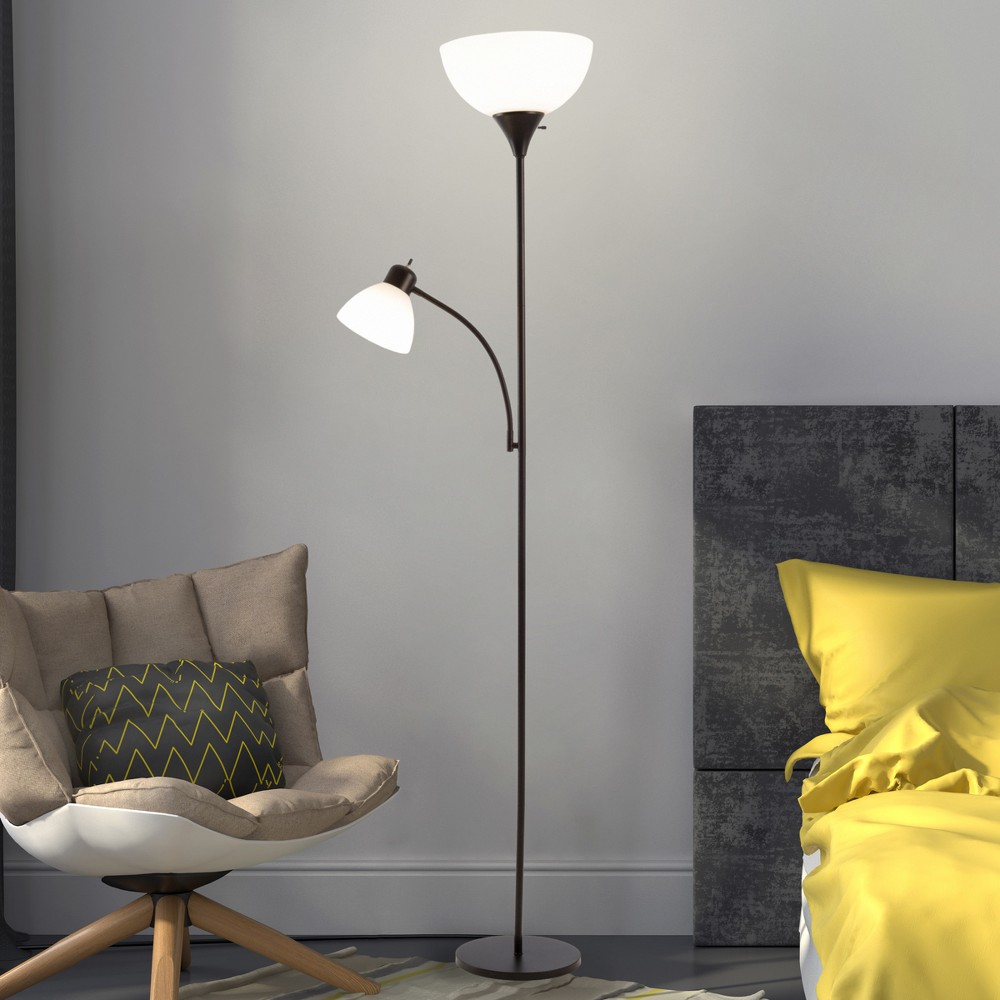 Image of Torchiere Floor lamp Black (Includes Energy Efficient Light Bulb) - Lavish Home