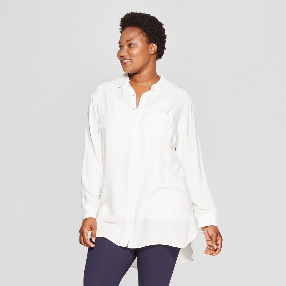Women's Plus Size No Gap Button-Down Long Sleeve Tunic - Ava & Viv White 3X