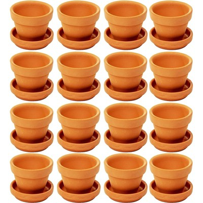 """Juvale 16 Pack Terra Cotta Clay Pots with Saucers, Small Plant Pots, Planters for Succulents 2 x 2 x 1.5"""""""