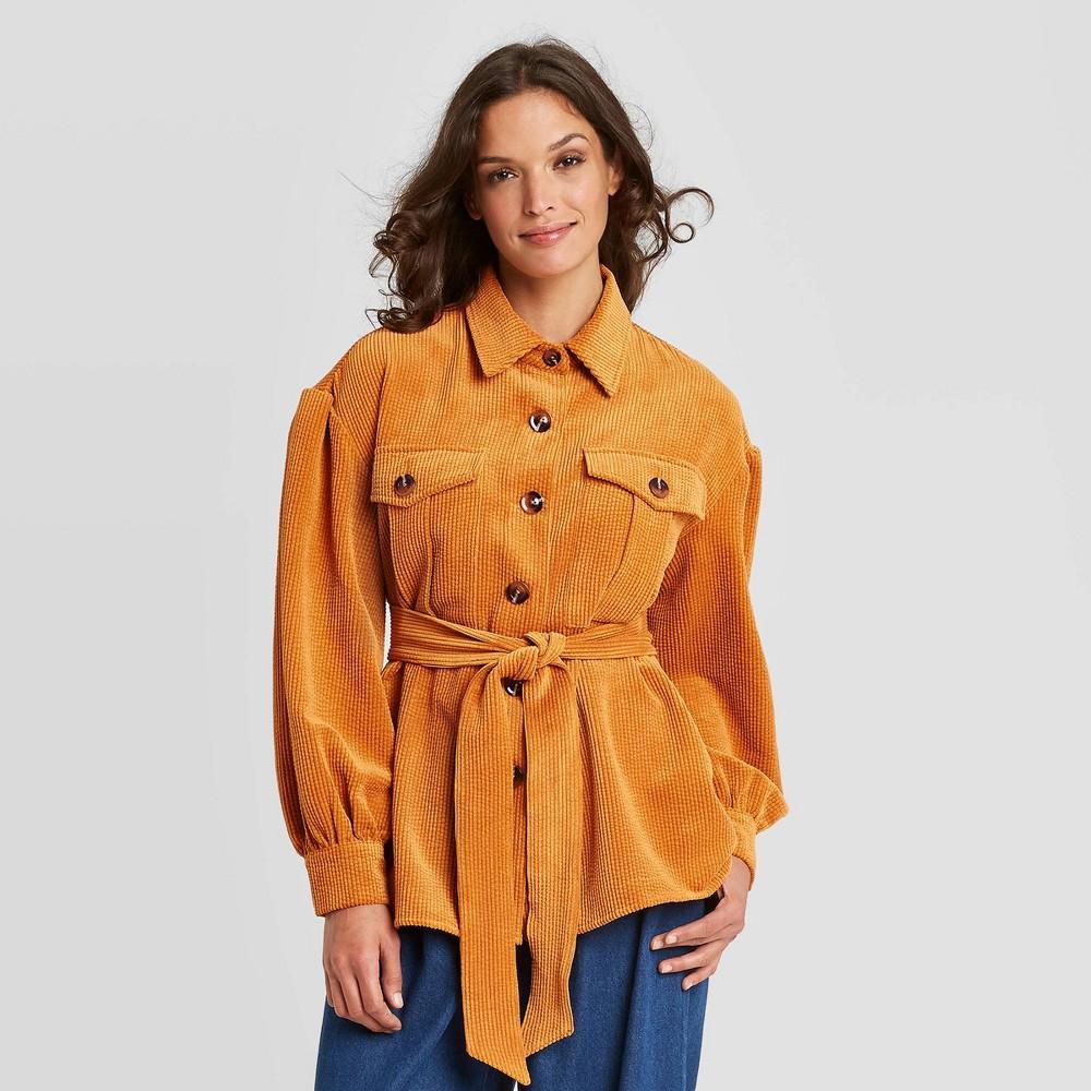 70s Jackets, Furs, Vests, Ponchos Womens Volume Sleeve Shirt Jacket - Who What Wear Brown L $54.99 AT vintagedancer.com