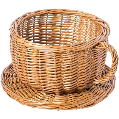 Vintiquewise Wicker Saucer Coffee Mug Cup Decorative Gift Basket Desk Organizer