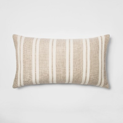 Cotton/Linen Stripe Oversize Lumbar Throw Pillow Neutral/White - Threshold™