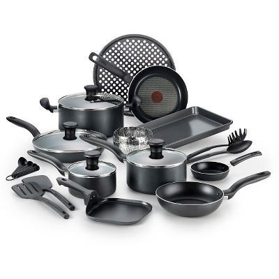 T-Fal 20pc Cookware Set Black