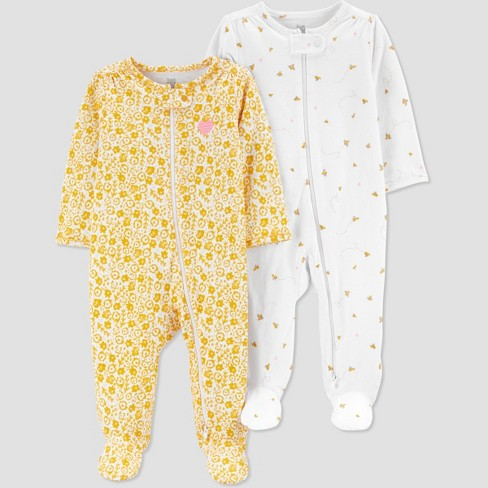 Baby Girls' 2pk Sleep N' Play - Just One You® made by carter's Yellow/White - image 1 of 3