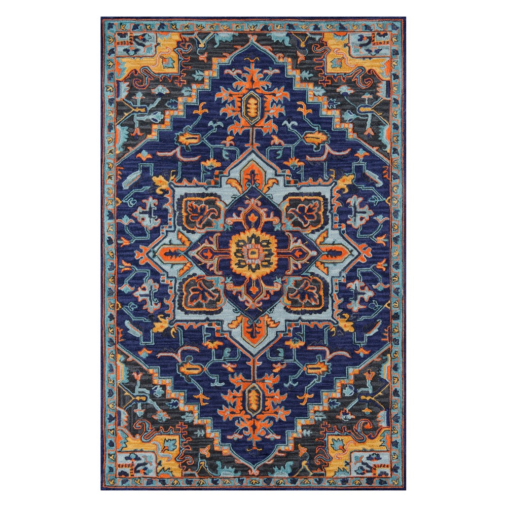 3'X5' Medallion Tufted Accent Rug Navy (Blue) - Momeni