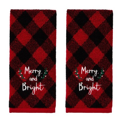 2pk Merry and Bright Hand Towel Set Red - SKL Home