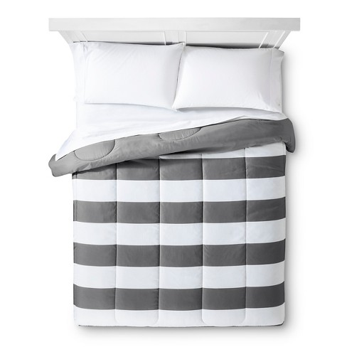 Gray Rugby Stripe Comforter King Room Essentials