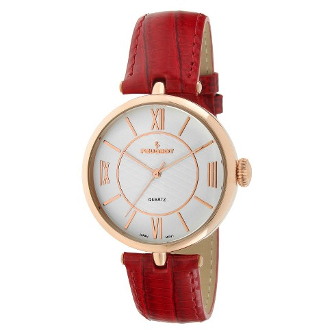 Peugeot® Large Dial Leather Strap Watch - Rose Gold & Red - image 1 of 2