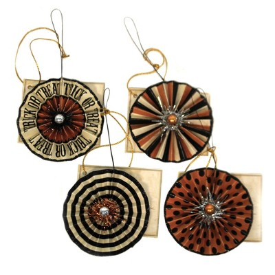 "Halloween 2.5"" Trick Or Treat Rosette Set / 4 Ornament Feather Tree Halloween  -  Tree Ornaments"