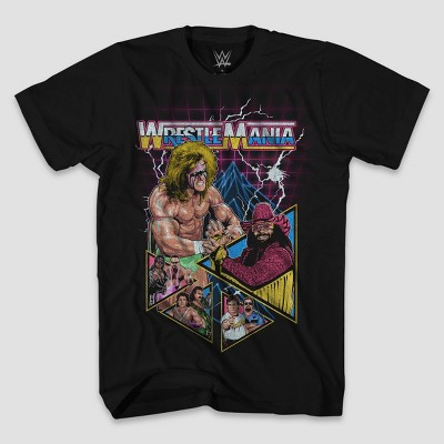 Men's WWE WrestleMania Short Sleeve Graphic Crewneck T-Shirt - Black