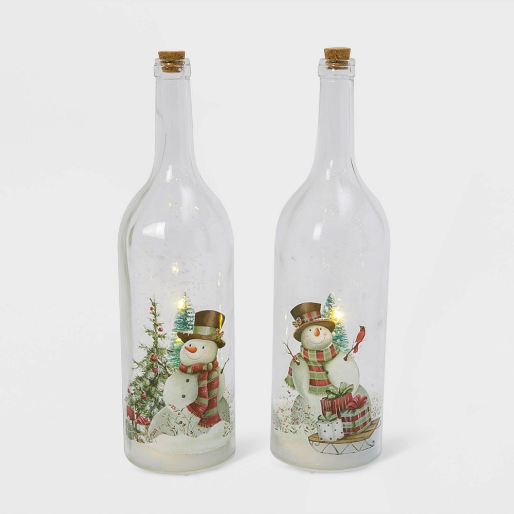 "Image of ""17.9""""/2pc Lit Holiday Snowman Design Glass Bottles Decorative Figurines - Gerson International"""