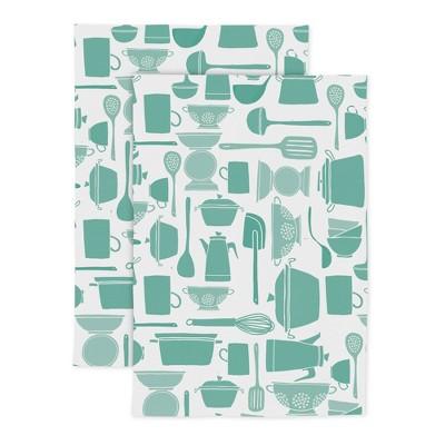 2pk Cotton Designer Pinch 'N Dash Kitchen Towels - MU Kitchen