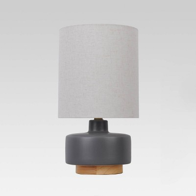 Ceramic Table Lamp with Wood Base (Includes LED Light Bulb)Gray - Project 62™