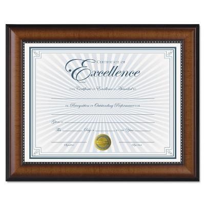 Dax Prestige Document Frame Walnut/Black Gold Accents Certificate 8 1/2 x 11 N3028N1T