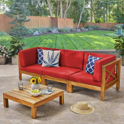Brava 4pc Acacia Modular Sofa and Table Set - Christopher Knight Home