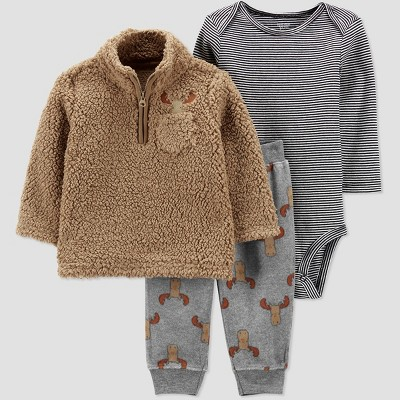 Baby Boys' 3pc Moose Sherpa Top & Bottom Set - Just One You® made by carter's Brown 12M