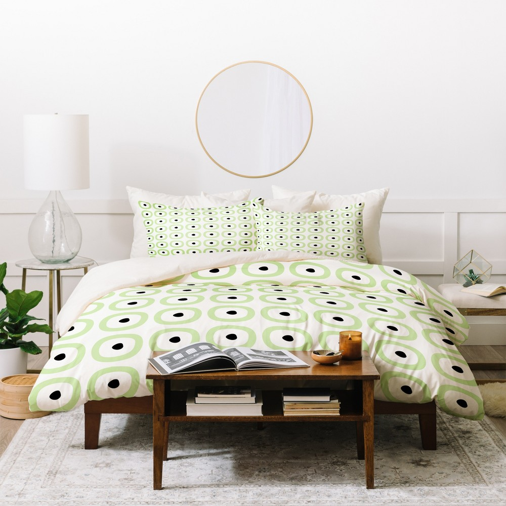 Twin/Twin XL Geometric Caroline Okun Yarmouth Duvet Cover Set Green - Deny Designs
