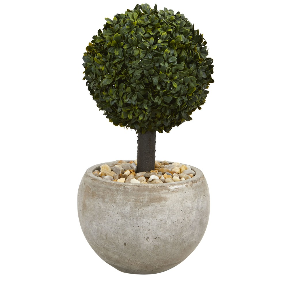 2ft Boxwood Topiary Artificial Tree In Sand Planter - Nearly Natural, Green